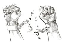 Hands Breaking Steel Shackles Chain. Sketch Vector