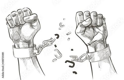 Photo hands breaking steel shackles chain. Sketch vector