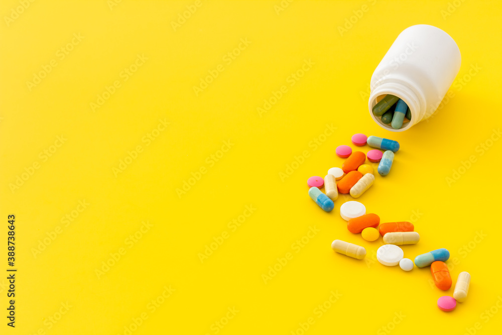 Fototapeta Pills bottle with medicines and vitamins, close up