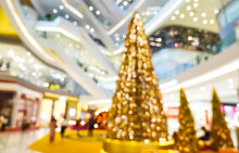 Blurred Of  Light Celebration On Christmas Tree In Mall And Festive Bokeh Lighting, Blurred Holiday Background
