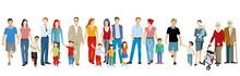 Familiengruppen Generationen Zusammen Vector Illustration