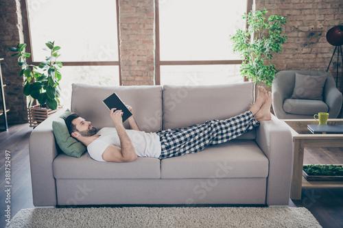 Fotografie, Obraz Profile photo of domestic homey handsome guy stay home quarantine reader book wo