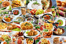Collage Of Many Popular All Over The World Breakfasts, Lunches And Snacks. Collage Of Different Assortment Of Food.