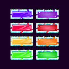 Set Of Gui Colorful Jelly And Crystal Button With Blue Lava Ice Frame Border For Game Ui Asset Elements Vector Illustration