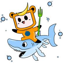 Little Cute Underwater Life Monster. Vector Illustration Of Cartoon Character Mascot
