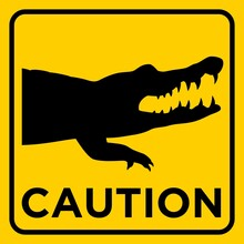 Crocodile Animal Wildlife Warning Printable Yellow Sticker Square Sign