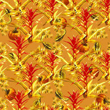 Guzmania With Pumpkins And Leaves Seamless Pattern.