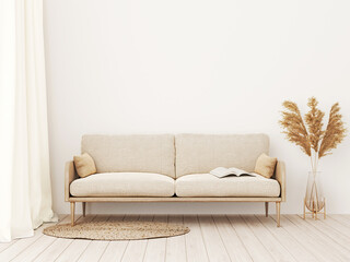 Interior wall mockup in warm tones with beige linen sofa, dried Pampas grass, woven rug, curtains and boho style decoration in living room with empty wall background. 3D rendering, illustration.