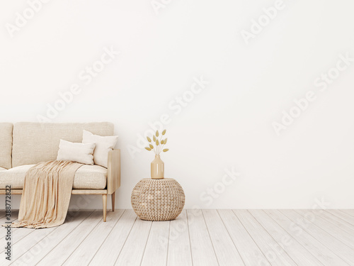 Cuadros en Lienzo Living room interior wall mockup in warm tones with beige linen sofa, pillows, plaid, dried grass, woven basket table and boho style decoration on empty wall background
