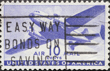 USA - Circa 1941: A Postage Stamp Printed In The US Showing A Twin-motored Transport Airplane 10c Airmail