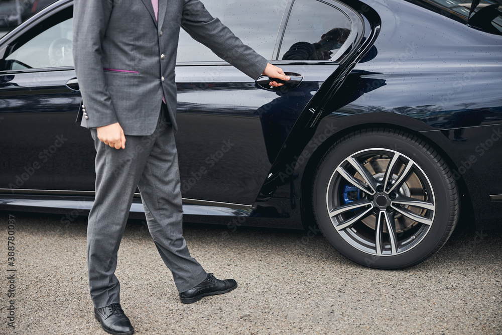 Fototapeta Luxury vehicle provided for a private airport transfer