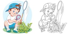 Coloring Page With Boy Studyin...