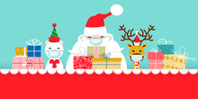 Christmas Characters Label With Protection Masks And Christmas Gifts