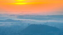 Amazing Foggy Sunrise Over The...
