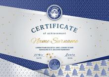 Christmas Certificate With Santa Claus In Emblem. Blue Silver Textured Winter Background For New Year Congratulations