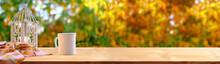 Wooden Table In The Garden, Te...