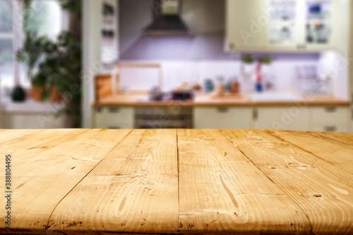 Fototapeta Desk of free space and kitchen interior  obraz