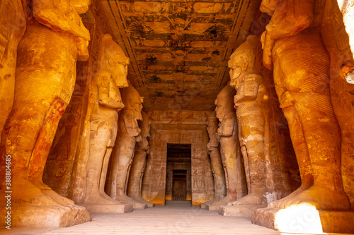Interior with the sculptures of the pharaohs in the Abu Simbel Temple in southern Egypt in Nubia next to Lake Nasser Fotobehang