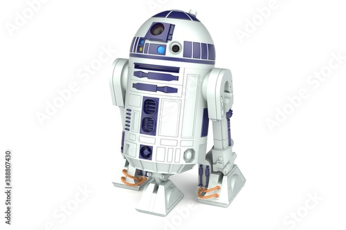 Photo Children's toy droid r2d2 from the movie star wars. 3d render.