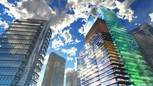Skyscrapers And Sky, Modern High-rise Buildings Against The Sky With Clouds, Bottom View, 3d Rendering