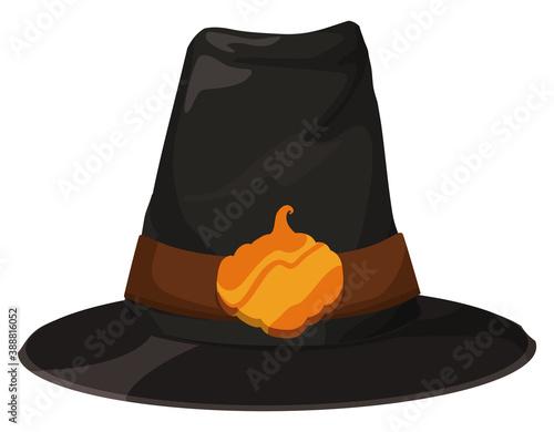 Fotografering Pilgrim Hat Decorated with Pumpkin Badge for Thanksgiving Season, Vector Illustr