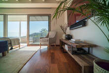Armchair In Home Showcase Interior Living Room With Hardwood Floor