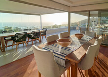 Sunny Home Showcase Interior Dining Room With Scenic Ocean View