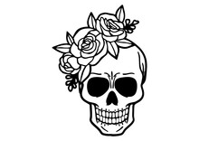 Black Outline Of Skull With Flowers