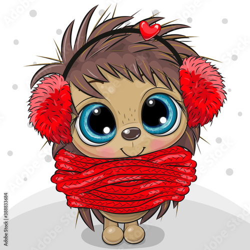 Cartoon Hedgehog in fur headphones and scarf