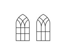 Church Window, Gothic Windows, Church Window Symbol Icon Design. Gothic Window Frames Line Icon Set. Vector Illustration. Window Icon