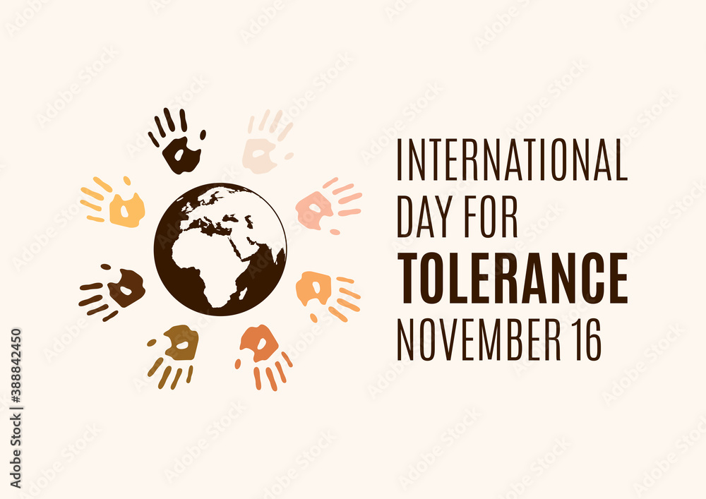 Fototapeta International Day for Tolerance vector. Human hands with different skin colors silhouette vector. Colorful handprints around the planet earth vector. Different colored handprints vector. Important day