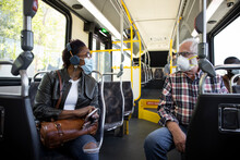 Passengers In Face Masks Talki...
