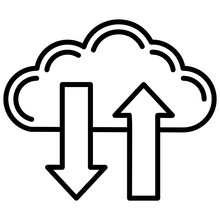 A Cloud With Upward And Downward Directing Arrows Showing Data Transfer Process