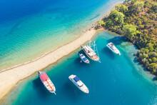 Five Boats Sea On Anchor Parki...