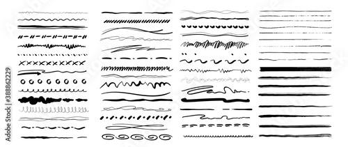 Obraz Set of vector grunge brushes. Abstract hand drawn ink strokes. Vintage hand drawn underline border elements, pencil sketch stroke decoration. Vector illustration - fototapety do salonu