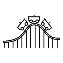 Roller Coaster Ride Icon. Outline Roller Coaster Ride Vector Icon For Web Design Isolated On White Background