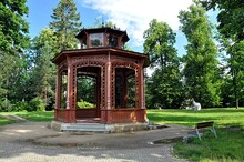 Old Wooden Gazebo And Park