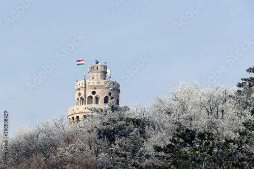 Fototapeta Elizabeth look-out tower in Budapest in the winter