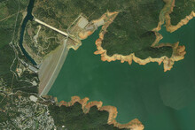 Oroville Dam And Hydroelectric Power Plant Looking Down Aerial View From Above, Bird's Eye View Oroville Dam - California, USA
