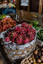 Fresh Dragon Fruit And Vegetables In An Indonesian Market