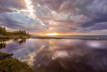 Brilliant Sunset Over Lake Superior At Eagle River In The Upper Peninsula, Michigan