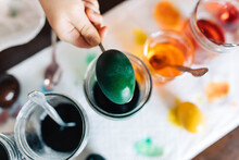 Dyeing Colorful Easter Eggs At...