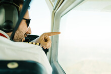 Pilot During Flight In Airplane