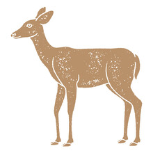Deer Illustration With Grainy Texture