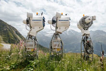Artificial Snow Cannons In La Chaux Verbier, Switzerland