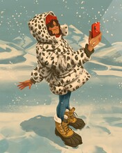 Young Girl In A Winter Leopard Jacket Takes A Selfie On A Background Of Mountains.