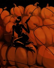 Halloween. A Woman In A Halloween Outfit Sits On A Large Pile Of Pumpkins.