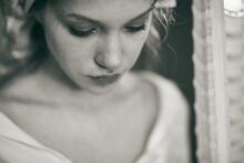 A Portrait Of A Beautiful Girl In A White Shawl