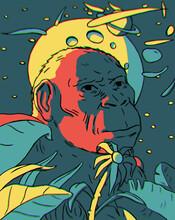 Monkey Ancestor Ape Illustration, Cosmic Landscape, Moon, Saturn And Comets