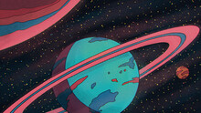 Planets, Stars And Stardust Illustration Surreal Fantasy Universe